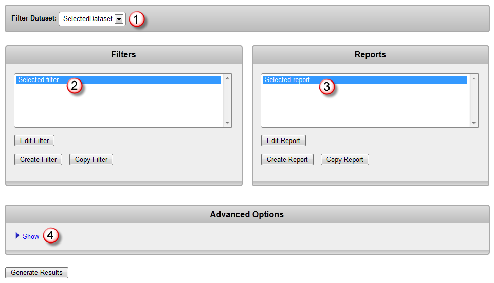 Select filter and report to build baseline