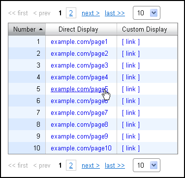 Links in a table